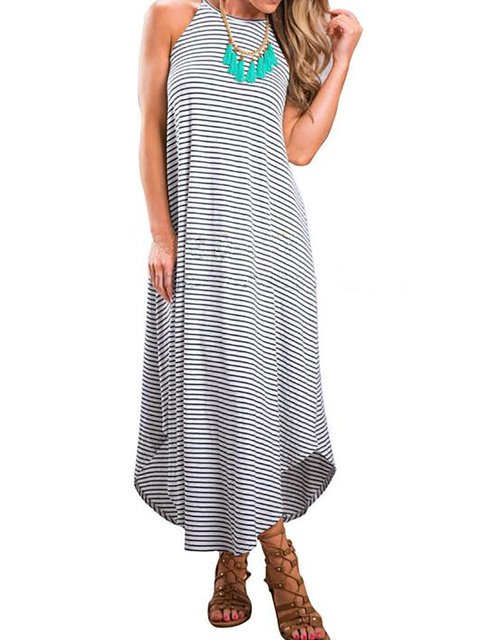 Slit Summer Dress Gray Striped Sleeveless Asymmetrical Elegant Women Daytime wqP0XO