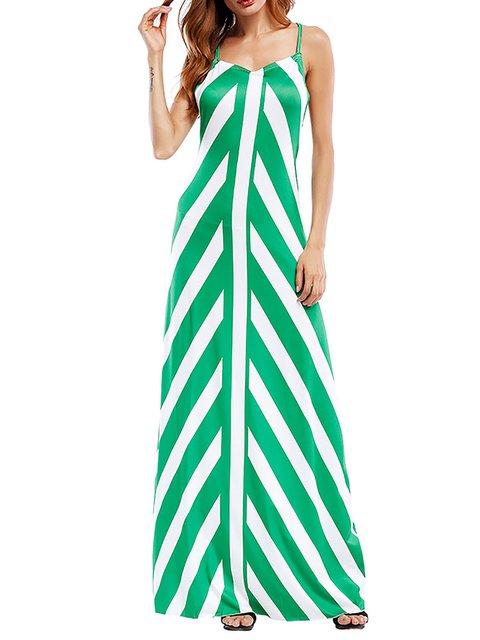 Sheath Women Evening Spaghetti Elegant Paneled Striped Summer Dress