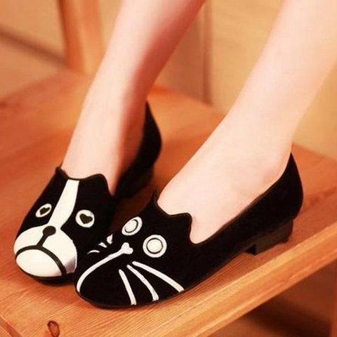 Women Cat and Dog Pattern Casual Slip On Cute Loafers
