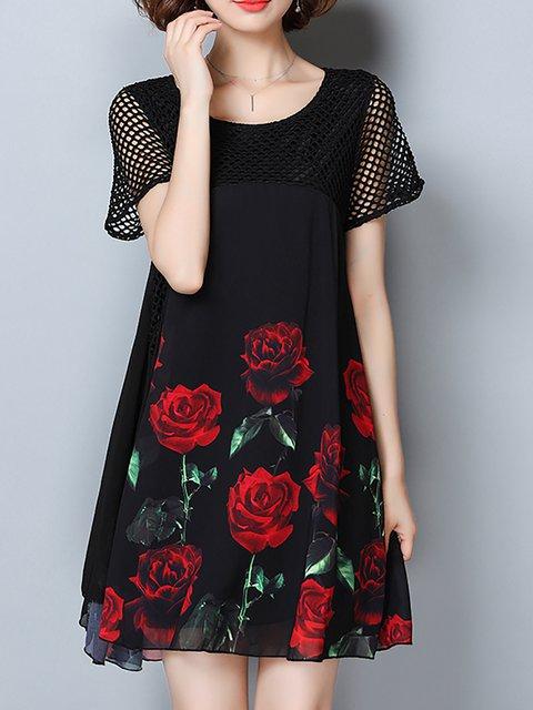 Short Floral Elegant Elegant Dress Daytime Sleeve Women Paneled wxPSpCznq