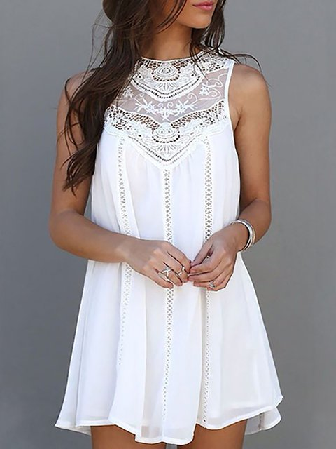 White A-line Women Sleeveless Casual Paneled Summer Dress