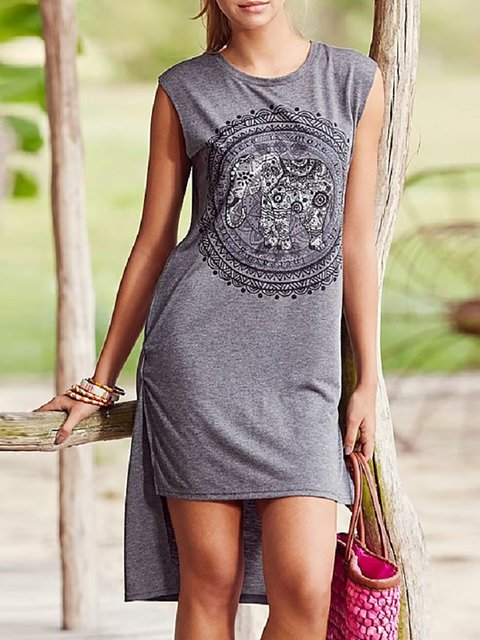 Shift Women Going out PVC Sleeveless Paneled Abstract Summer Dress
