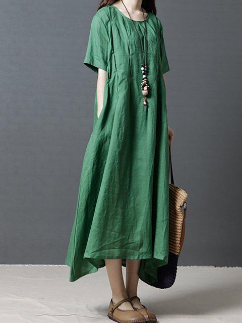 A-line Women Daytime Linen Short Sleeve Paneled Casual Dress