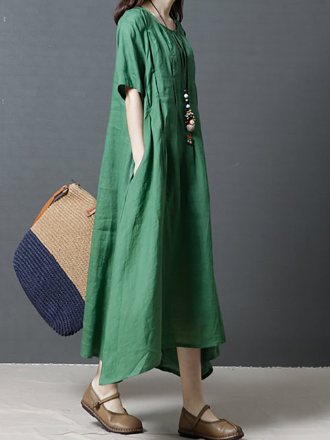 Linen Sleeve Dress line Daytime A Casual Paneled Short Women qwt7CP8X