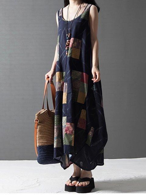 Blue Daytime Elegant Casual Floral Dress Linen Women Cocoon Paneled 1rzCqxH1w