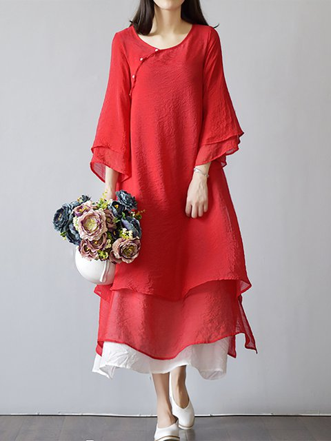 A-line Women Cotton Elegant Paneled Casual Dress
