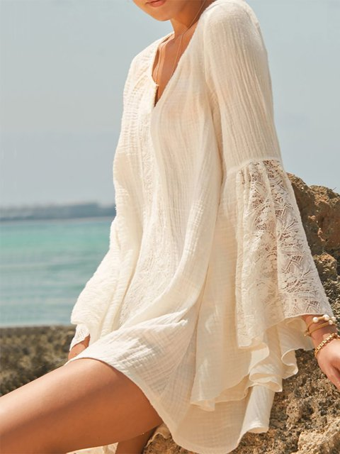 V neck  Shift Women Daily Balloon Sleeve Casual Paneled Summer Dress