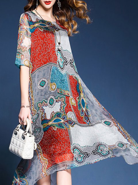 Red A-line Women Chiffon Elegant Half Sleeve Paneled Abstract Elegant Dress