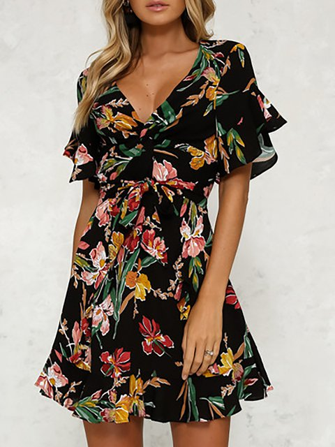 V neck Black A-line Women Date Chiffon Frill Sleeve Paneled Floral Floral Dress