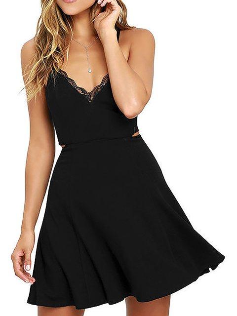 V neck Black  Women Going out Spaghetti Cotton  Summer Dress