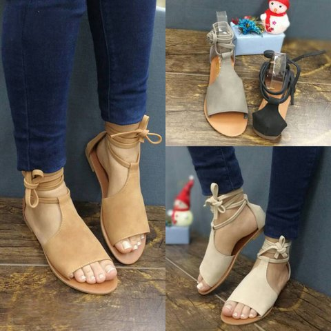 JustFashionNow Casual Low Heel Artificial Suede Lace-up Sandals