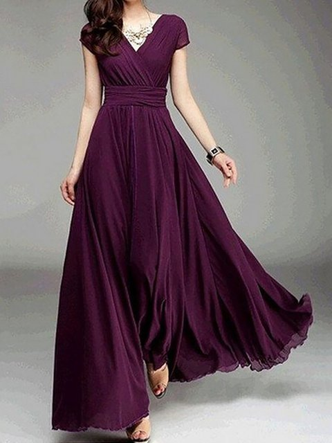 V neck  Swing Women Evening Chiffon Short Sleeve Paneled  Elegant Dress
