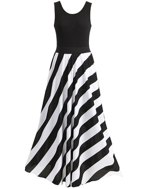 632cb529d83 JustFashionNow Black-white Women Prom Dress Crew Neck Swing Cocktail ...
