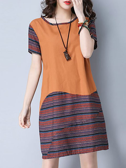 Women Daily Short Sleeve Stripe Paneled Striped Casual Dress