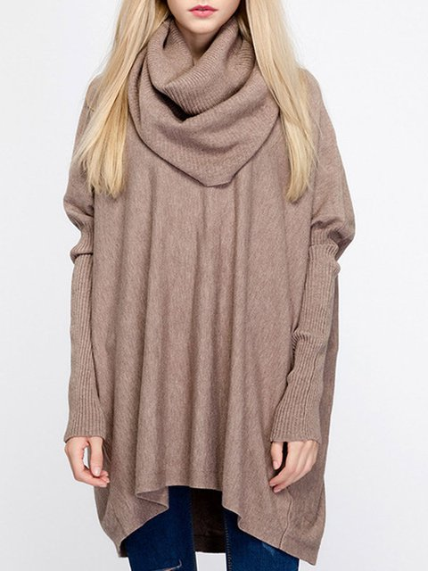 Knitted Batwing Cowl Neck Asymmetrical Sweater