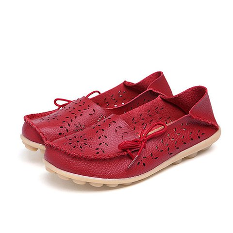 Big Size Handmade Leather Hollow Out Floral Breathable Soft Comfy Lace Up Flat Shoes
