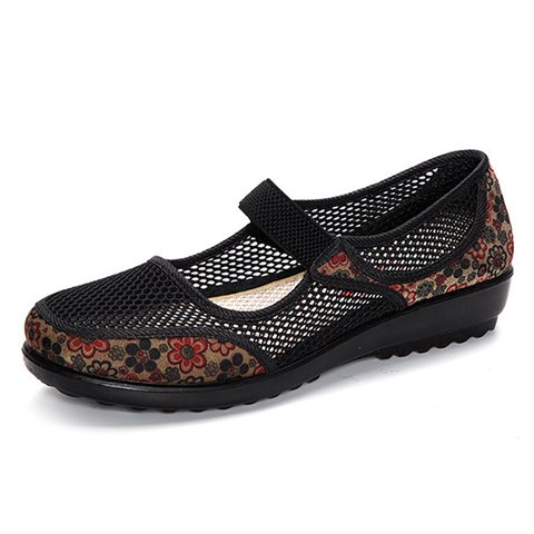 Big Size Mesh Breathable Flower Printing Flat Loafers