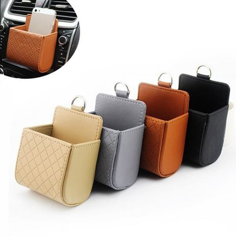 Multi-functional Auto Air Vent Car Storage Pu Phone Casual Bag