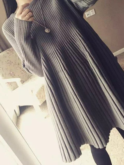Women Daily Long Sleeve Casual Cotton-blend Ribbed Casual Dress