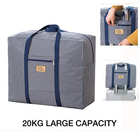 Casual Waterproof Stripe Travel Luggage Bag 20kg Large Capacity Durable Storage Bag