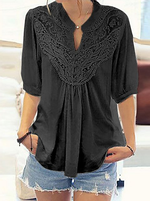 Half Sleeve Solid Blouse