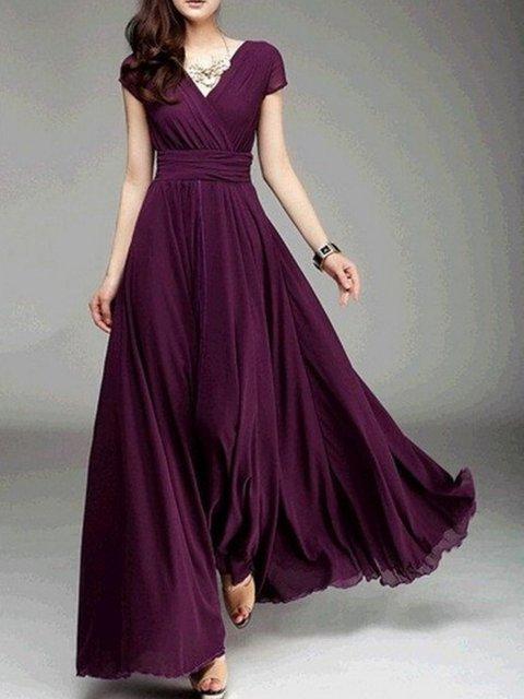 Surplice Neck  A-line Women Boho Short Sleeve Paneled Solid Elegant Dress