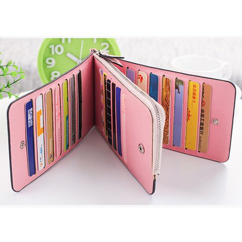 Women Microfiber Leather Multi-Card Slots Wallet Card Holders Phone Purse