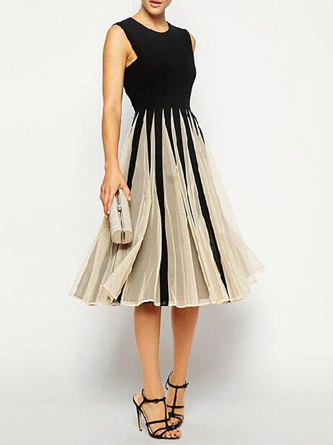 Black Swing Women Daytime Cotton-blend Sleeveless Paneled  Prom Dress