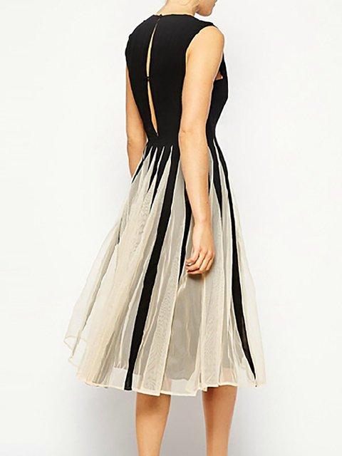5950cd9ba83 Black Swing Women Daytime Cotton-blend Sleeveless Paneled Prom Dress