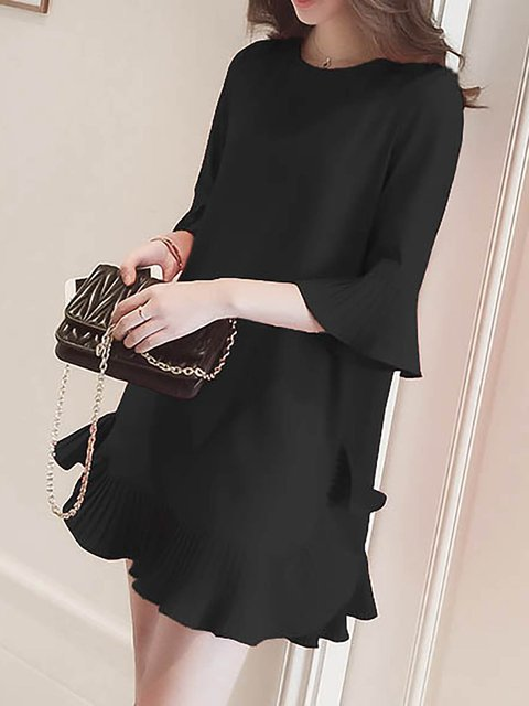 Dress Cotton Daytime Elegant Women Casual URIqYHw