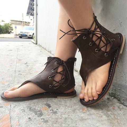 Plus Size Lace-up PU Flip-flops Sandals with Zipper