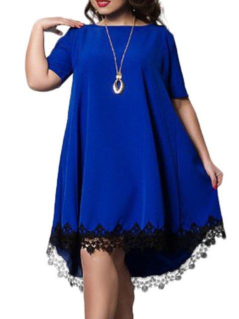 Asymmetrical Women Daytime Short Sleeve Asymmetric Plain Summer Dress