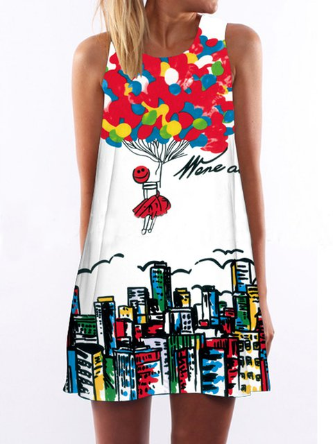 White  Women Daytime Sleeveless Casual Printed/Dyed Graphic Floral Dress
