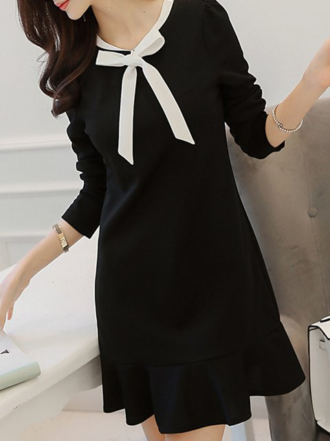Black A-line Women Daytime Long Sleeve Sweet Paneled Plain Elegant Dress