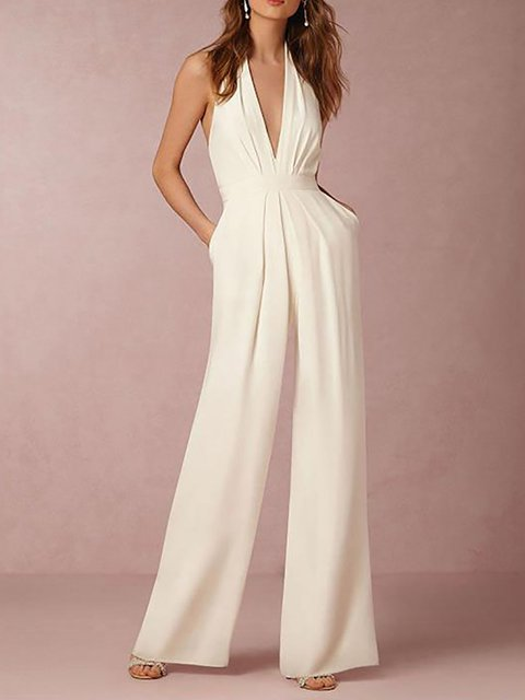 Women Jumpsuit Halter Casual Cotton-blend Sleeveless