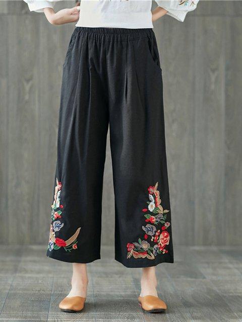 Linen Floral-embroidered Vintage  Wide Leg Pants