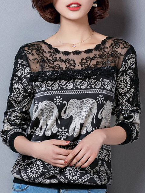 Paneled Casual Animal Printed  Blouse