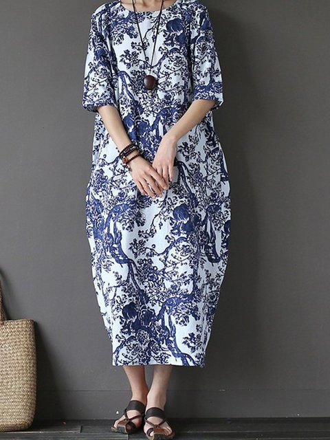 Cocoon Women Cotton Vintage Printed Floral Casual Dress