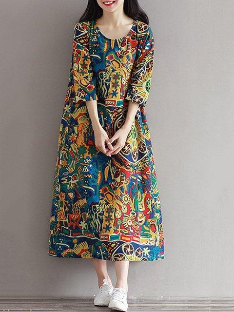 Shift Women Daytime Cotton 3/4 Sleeve Printed Abstract Elegant Dress