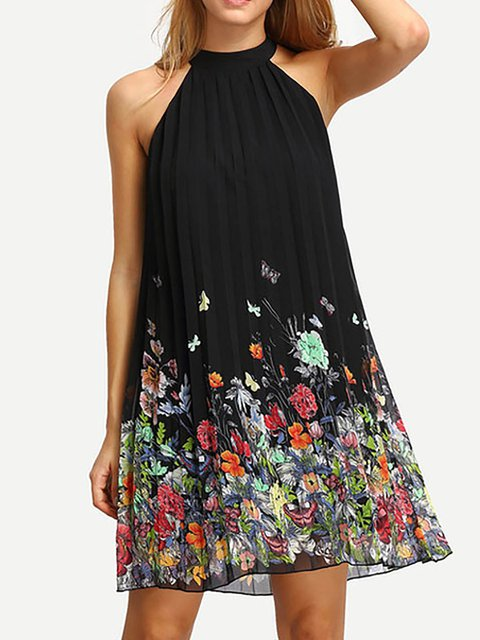 Halter Black  Women Daytime Chiffon Casual Sleeveless Floral Floral Dress