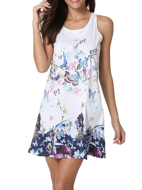 White  Women Going out Sleeveless Chiffon Casual Floral Dress