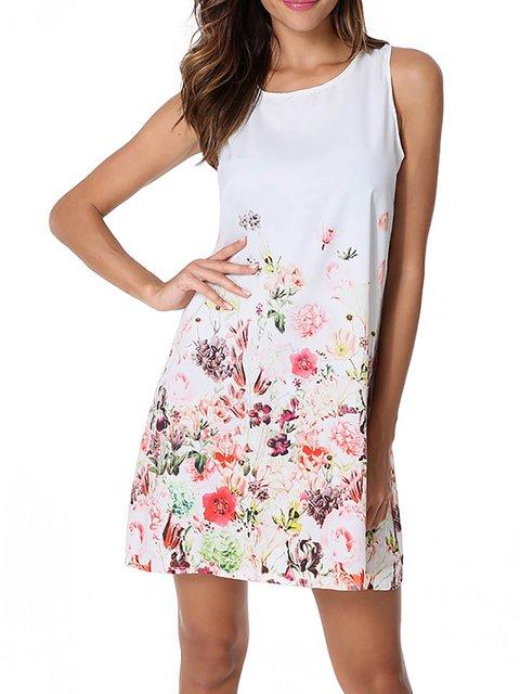 White A-line Women Short Sleeve Chiffon Paneled Floral Floral Dress