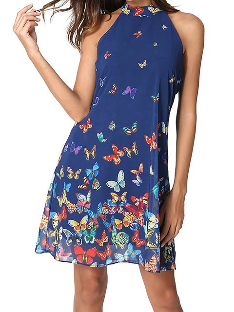 Halter Blue A-line Women Chiffon Casual Paneled Animal Floral Dress