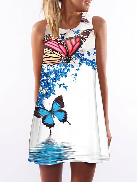 White  Women Casual Sleeveless Paneled Floral Dress