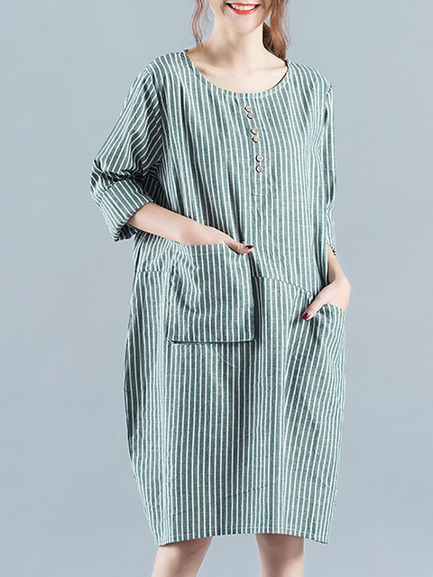 Swing Women Stripe Long Sleeve Paneled Striped Casual Dress