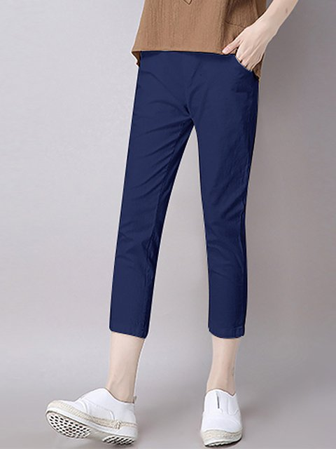 Casual Solid Paneled Pants