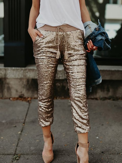 Golden Paneled Casual Pants