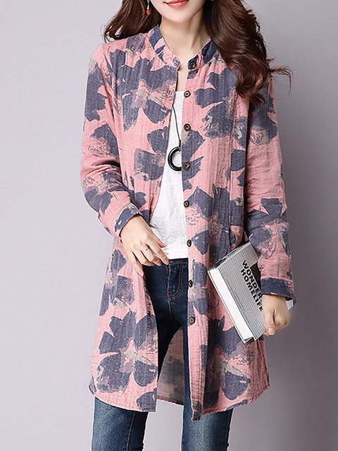 Pockets Floral Printed line Casual Sleeve A Cardigan Short vqxaYSn