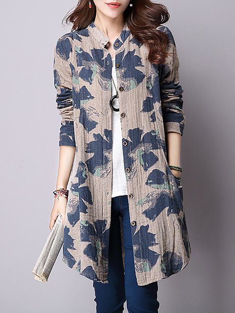 Short Sleeve Casual Floral A-line Printed Pockets Cardigan