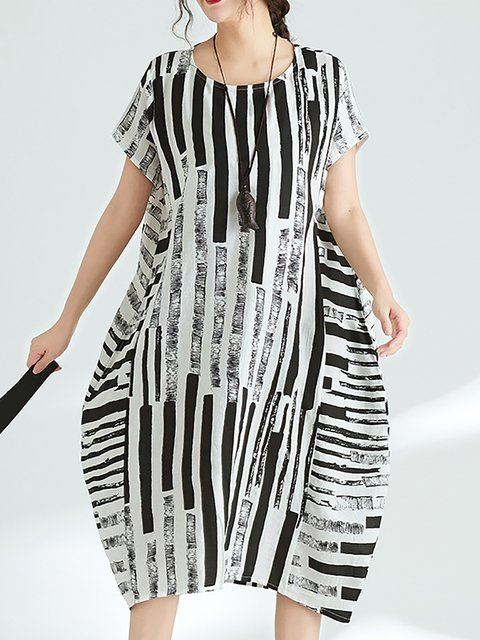White  Women Daily Short Sleeve Paneled Striped Casual Dress